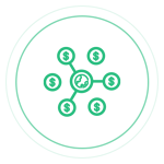 Ícone com conexões com símbolos de dinheiro