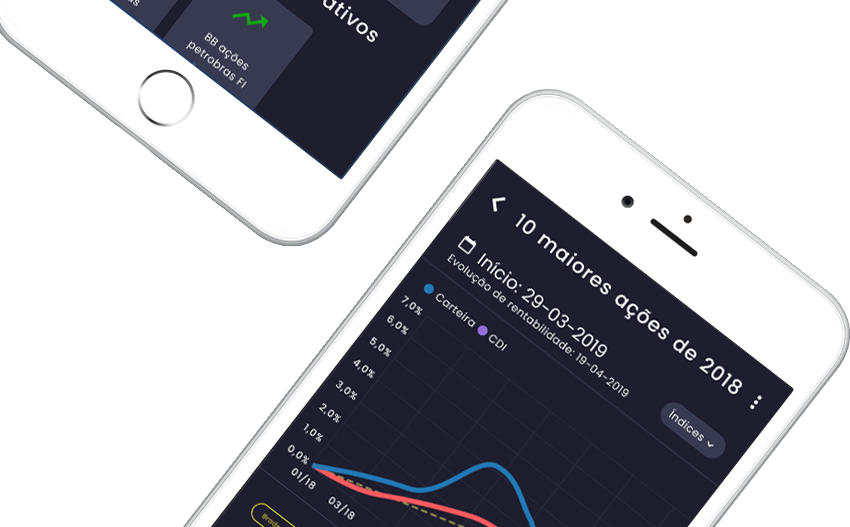 Tela do aplicativo de simulação de investimentos da SmartBrain